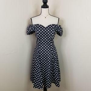 Laura Ashley Navy polka dot off shoulder dress L